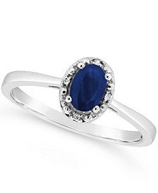 Sapphire (5/8 ct. t.w.) and Diamond Accent Ring in Sterling Silver