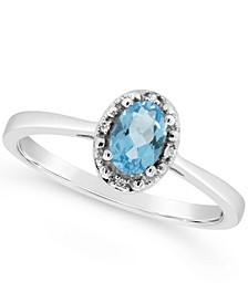 Swiss Blue Topaz (5/8 ct. t.w.) and Diamond Accent Ring in Sterling Silver (Also Available in Other Gemstones)