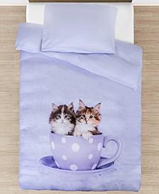 Toddler Tea Cup Kitties Duvet Cover Set