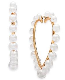 Gold-Tone Imitation Pearl Heart Hoop Earrings, Created for Macy's