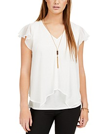 Juniors' Split-Front Flutter Necklace Top