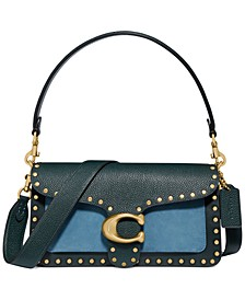 Colorblock Leather with Border Rivets Tabby Shoulder Bag 26