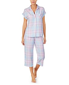 Plaid Short-Sleeve Capri Pajamas Set