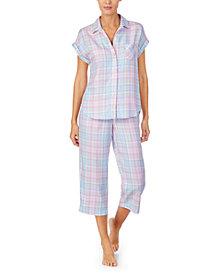 Lauren Ralph Lauren Plaid Short-Sleeve Capri Pajamas Set