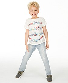 Little Boys Dino Stripe T-Shirt & Shore Destroyed Jeans, Created For Macy's