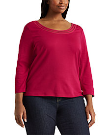 Lauren Ralph Lauren Plus-Size Cotton Elbow-Sleeve Top