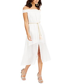 Gauze Off-The-Shoulder Fit & Flare Dress, Created for Macy's