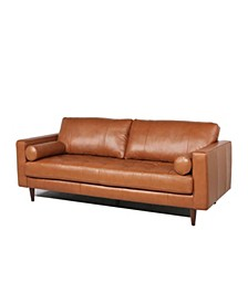 Maebelle Leather Sofa with Tufted Seat And Back