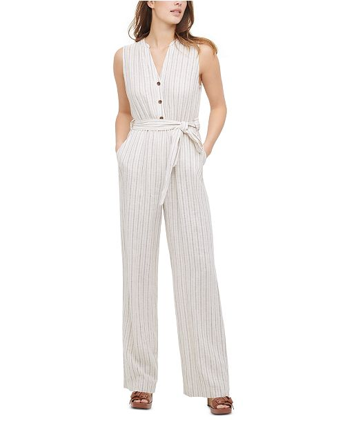Calvin Klein Striped Sleeveless Jumpsuit
