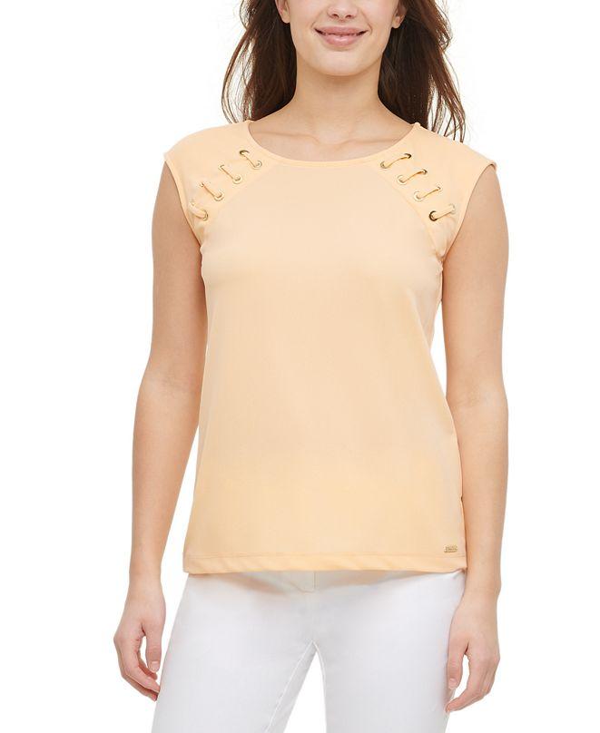 Calvin Klein Lace-Up Sleeveless Top