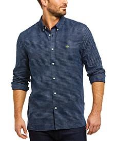 Men's Regular Fit Long Sleeve Button Down Cotton Linen Check Shirt