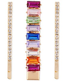Gold-Tone 3-Pc. Set Multicolor Crystal Hair Pins & Alligator Clip