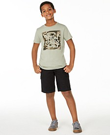 Big Boys We Run T-Shirt & Black Textured Canvas Cargo Shorts, Created For Macy's