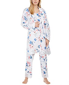 Floral-Print Wrap Robe & Pajama Set, Created for Macy's