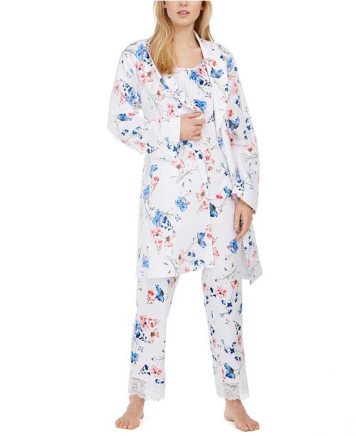 Charter Club Floral-Print Wrap Robe & Pajama Set, Created for Macy's