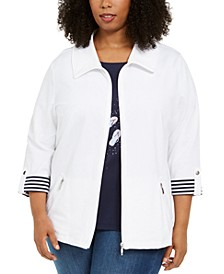 Plus Size Wing-Collar Jacket, Created for Macy's