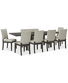 Parker Mocha Dining 8-Pc Set (Table, 6 Side Chairs & Bench), Created for Macy's