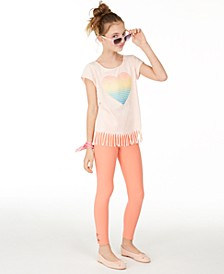Big Girls Rainbow Fringe Top & Bow Leggings Separates, Created for Macy's