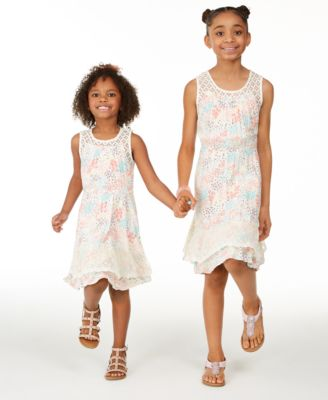 Little Girls Crochet Floral-Print Dress, Created for Macy's