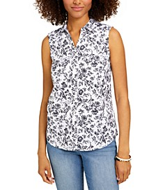 Petite Floral-Print Sleeveless Blouse, Created for Macy's