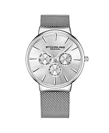 Stuhrling Men's Silver Tone Mesh Stainless Steel Bracelet Watch 39mm