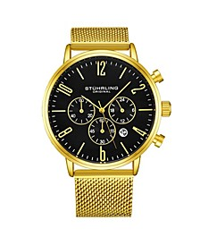 Men's Gold Tone Mesh Stainless Steel Bracelet Watch 48mm