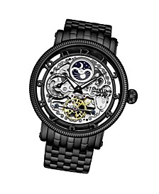 Men's Black Stainless Steel Bracelet Watch 49mm