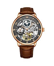 Men's Dark Brown Leather Strap Watch 40mm