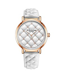 Women's White Leather Strap Watch 38mm