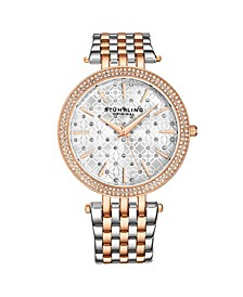 Women's Silver Tone - Rose Gold Layered Stainless Steel Bracelet Watch 39mm