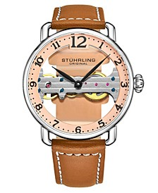 Men's Light Brown Leather Strap Watch 42mm