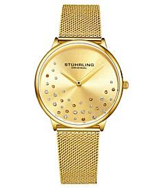 Women's Gold Tone Mesh Stainless Steel Bracelet Watch 38mm