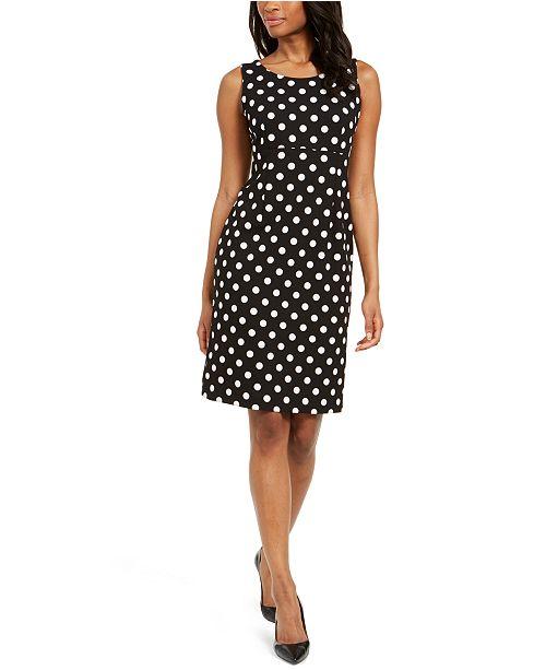 Kasper Petite Polka Dot Crepe Dress