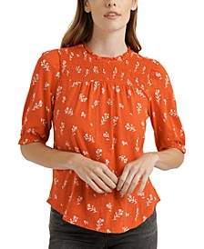 Cotton Puff-Sleeve Printed Top