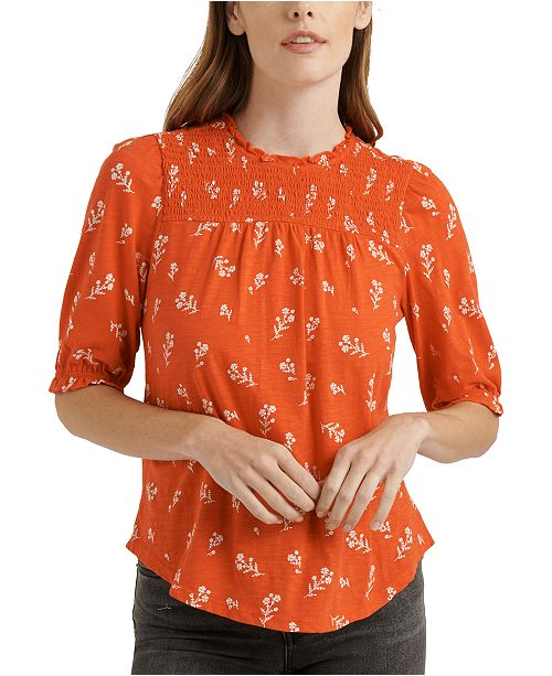 Lucky Brand Cotton Puff-Sleeve Printed Top