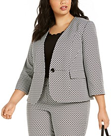Plus Size Geometric-Print One-Button Blazer