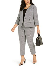 Plus Size Jacquard Blazer, Scalloped-Edge Top & Dress Pants