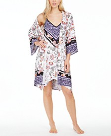 Floral-Print Wrap Robe & Chemise Nightgown