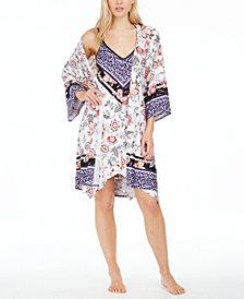 Linea Donatella Mixed-Print Wrap Robe