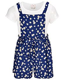 Big Girls 3-Pc. Floral Print Romper, T-Shirt & Barrettes