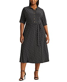 Plus-Size Belted Jersey Shirtdress