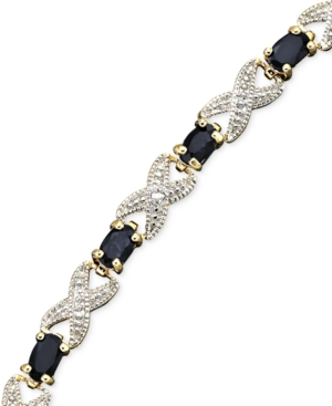 "Victoria Townsend 18k Gold over Sterling 7"" Bracelet, Sapphire (4 ct. t.w.) and Diamond Accent X"