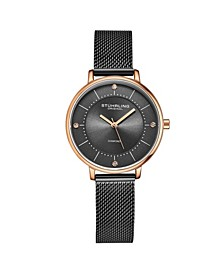 Women's Black Mesh Stainless Steel Bracelet Watch 34mm