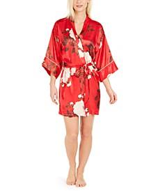 Kara Floral-Print Satin Wrap Robe