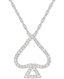 "Diamond Spade 18"" Open Pendant Necklace (1/4 ct. t.w.) in Sterling Silver"