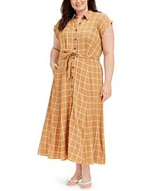 Plus Size Windowpane Gauze Maxi Shirtdress