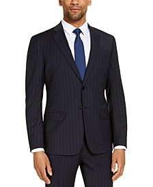 Men's Classic-Fit Navy Blue Pinstripe Suit Jacket, Created for Macy's