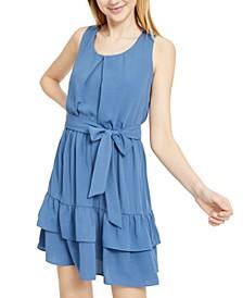 Juniors' Ruffle Belt Mini Dress