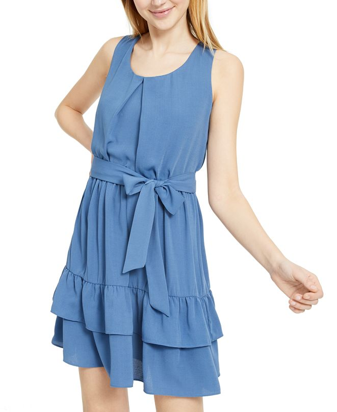 BCX Juniors' Ruffle Belt Mini Dress