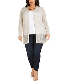 Plus Size Open-Front Pointelle Cardigan Sweater